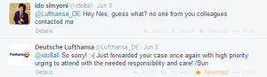 I guess Lufthansa's costumer care doesn't care about their social media colleagues.
