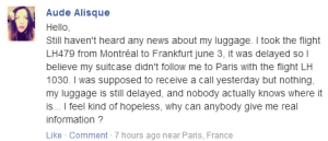 6 days without her luggage and now update about it