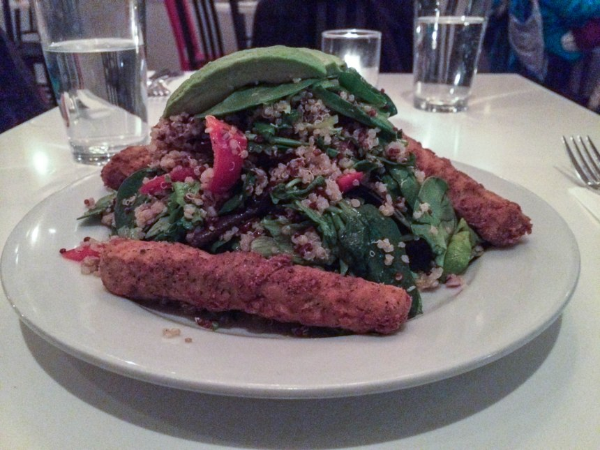 Quinoa Salad with Fake chicken at Peacefood Café- big Surprise!