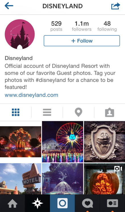 Disneyland are doing great job on Instagram encouraging their visitors to share their experience and they are reposting it on their account