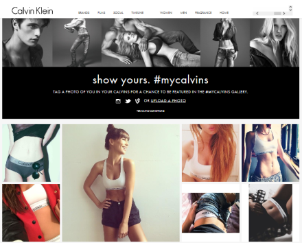 Simple and great Landing page by Calvin Klein