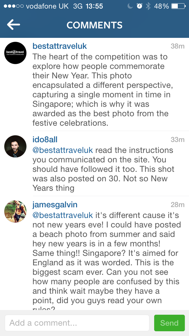 BestAtTravel respond to the complaints. screenshot from BestAtTravel instagram